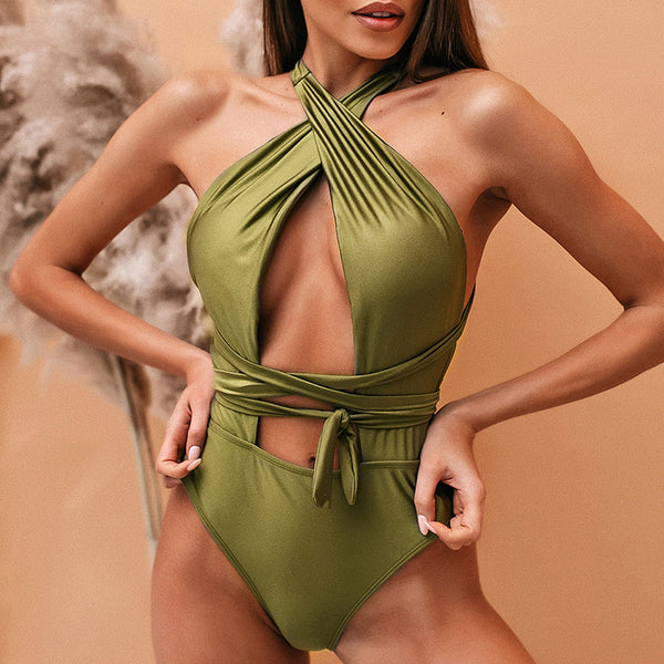 Green Halter One Piece Swimsuit - Pink Picot