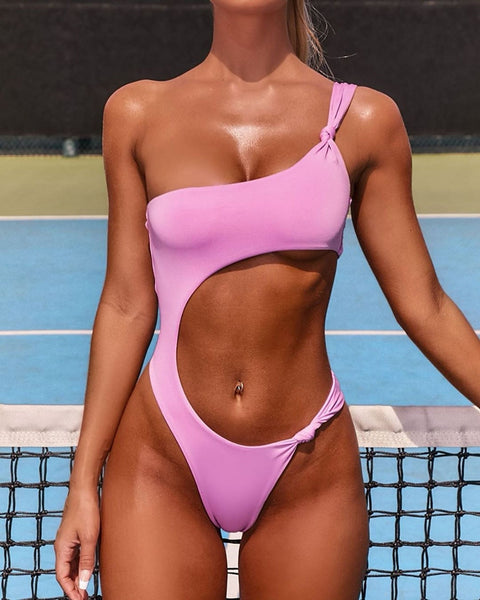 Sexy One Shoulder One Piece Swimsuit - Pink Picot
