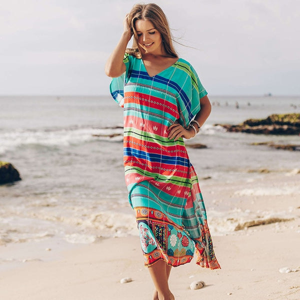 Long Cover Up Beach Dress - Pink Picot