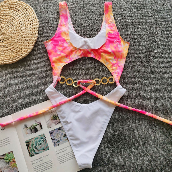 Hollow Out Chain One Piece Swimsuit - Pink Picot