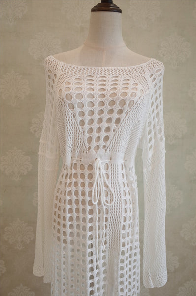 Long Crochet Cover Up - Pink Picot