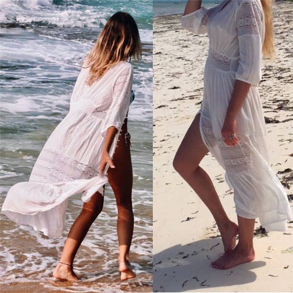 Beach Dress Cover Up - Pink Picot