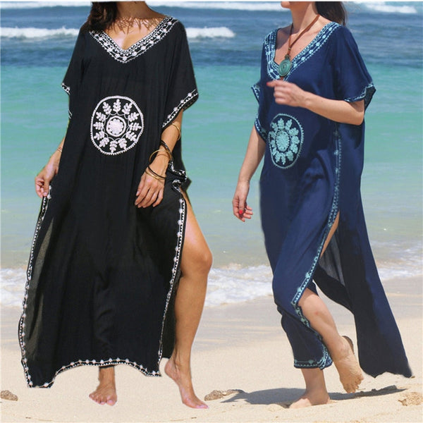 Embroidery Beach Cover up - Pink Picot