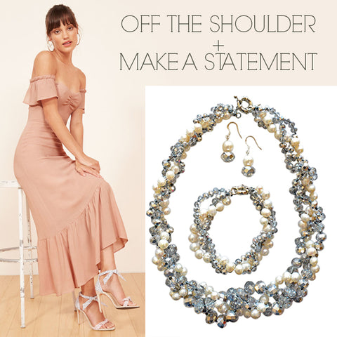 Off the Should Prom Dress Paired with Sparkling Pearl Statement Necklace