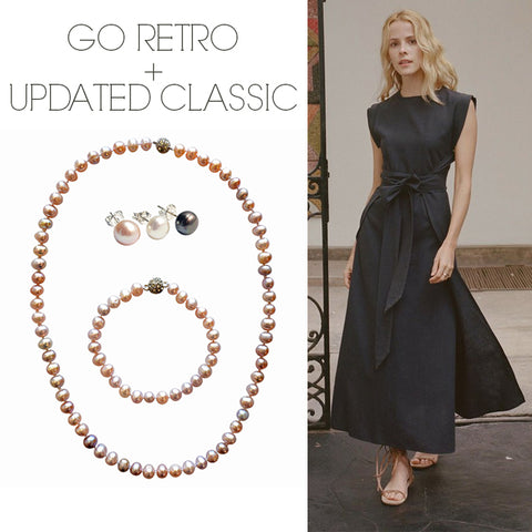 Doen Dress with Spark Necklace and Bracelet Elemental Earrings in Blush