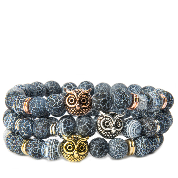 Bubo Owl Metal Charm Dragon Vein Stretch bracelet