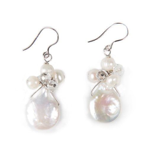 Flounce Natural Coin Pearl and Crystal Bead Drop Earrings Bridal