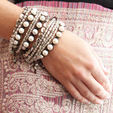 Hope Stacking Tibetan Silver Beaded Bracelets and Indu Pearl Slip Bracelet