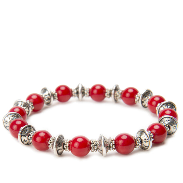 Lana Gemstone Tibetan Silver Stretch Stacking Bracelet Red Coral