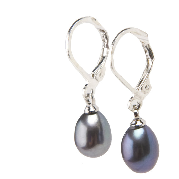 Misty Pearl Midnight Drop Earrings