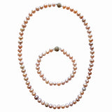 Spark cultured pearl Necklace with crystal magnetic clasp handmade fair trade blush pink