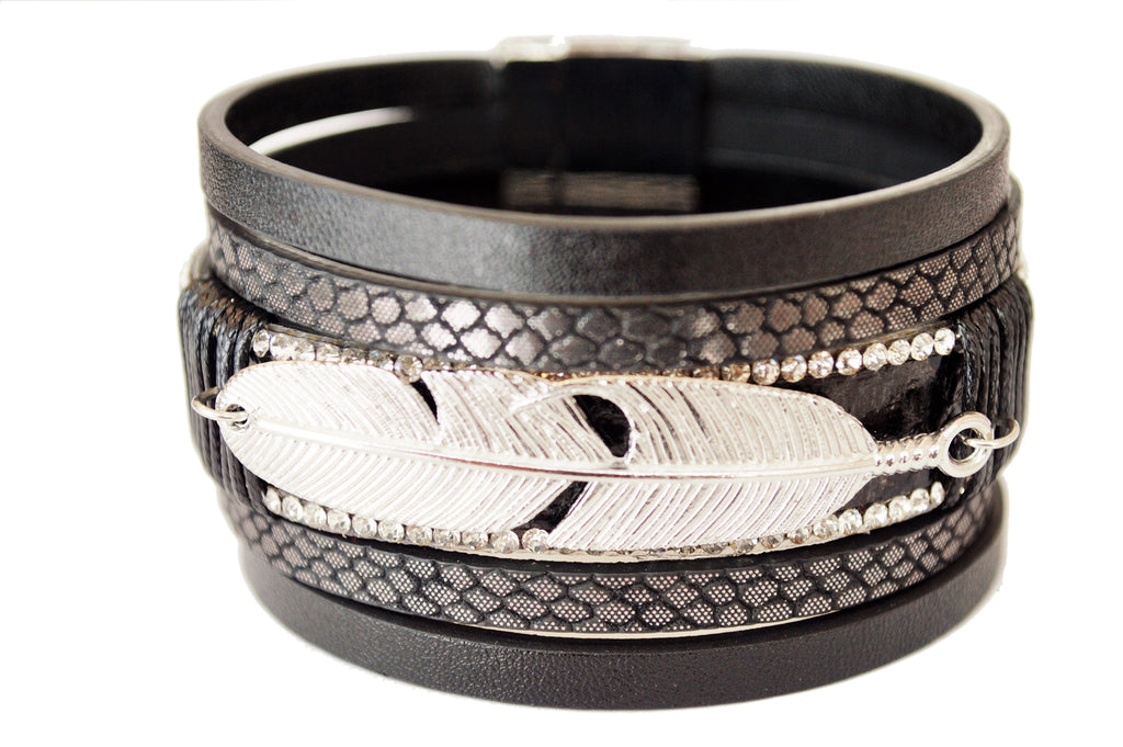 Ariel Leather and Feather Cuff Bracelet with Rhinestone detail front view