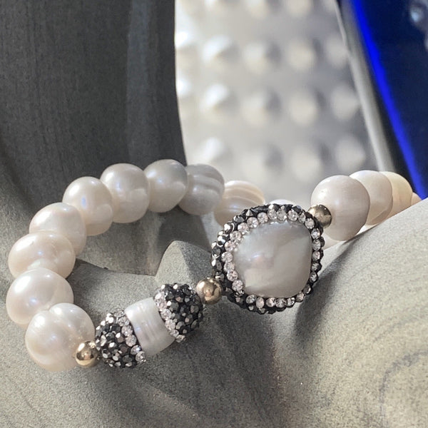 Sheba Genuine Pearl and Crystal Bracelet