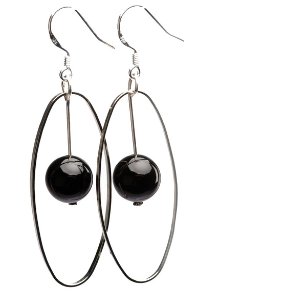 Elemental Gemstone Earrings Black Onyx Sterling Silver