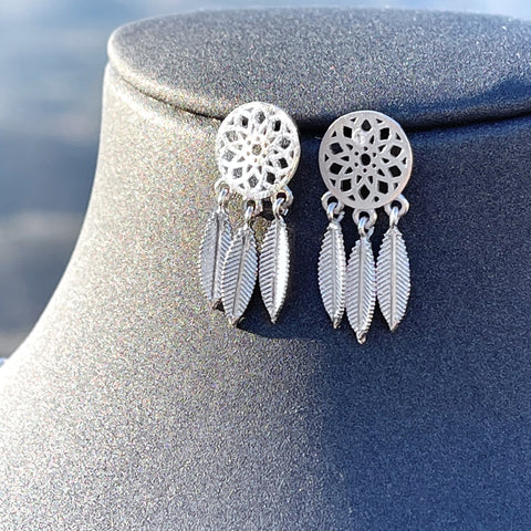 Dream catcher silver earrings
