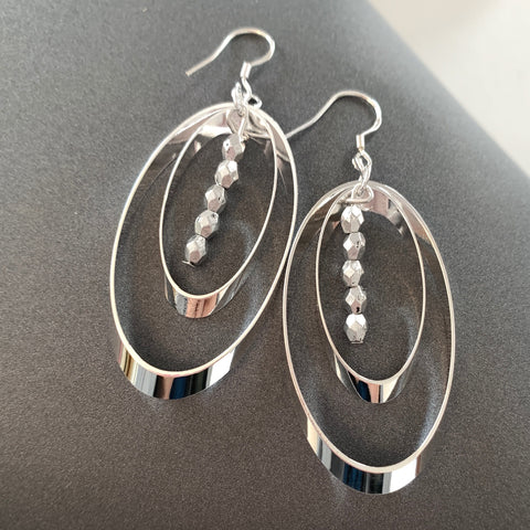 Ripple silver hoop earrings
