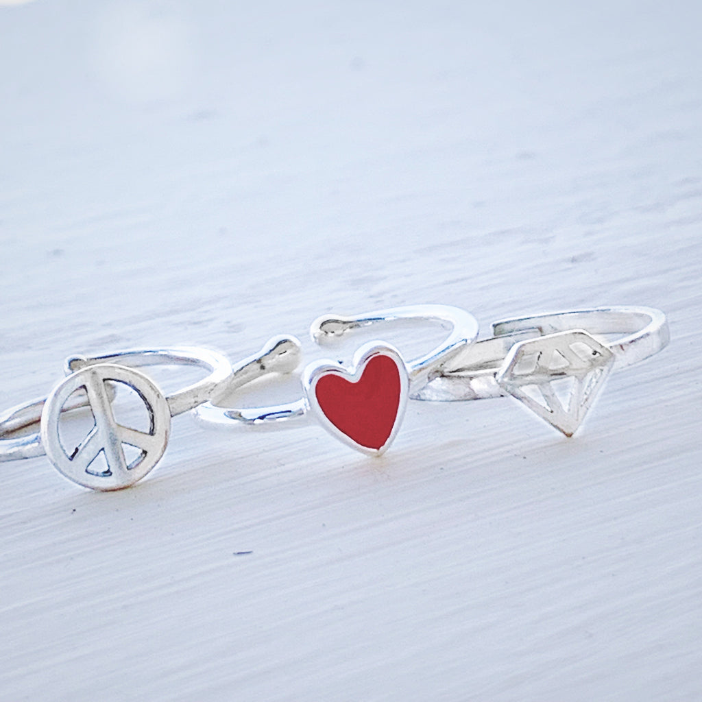 Peace Love Bling Icon Rings in Sterling Silver