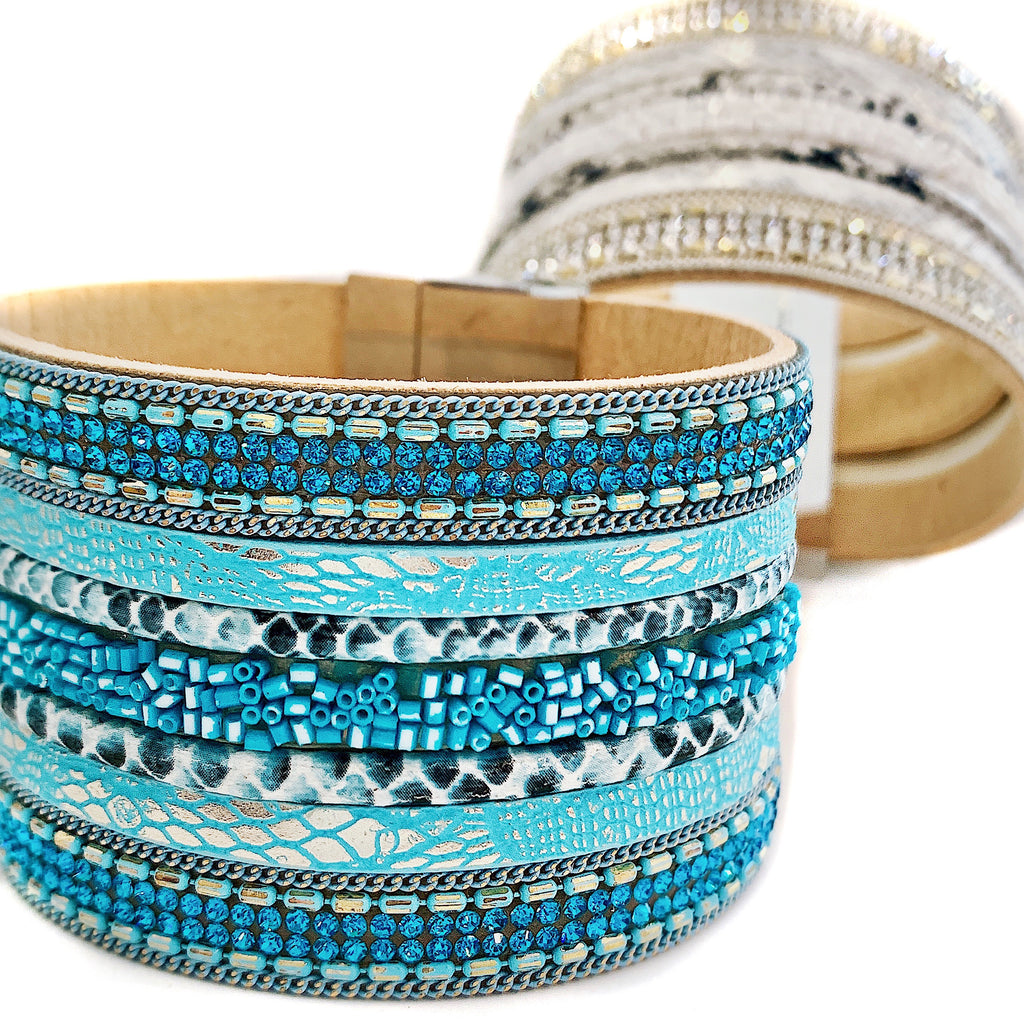 Oceana Seed Bead and Leather Cuff Bracelet