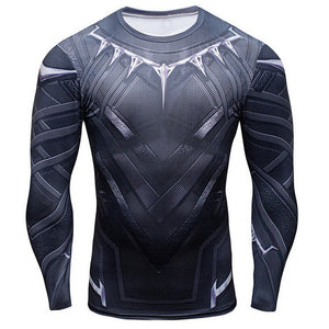 Black Panther 3D Printed T-shirts Long Sleeve fitness T shirt