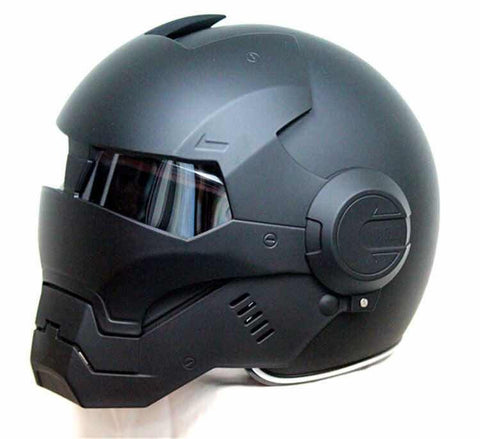 Free shipping Iron Man personality open face motocross helmet black