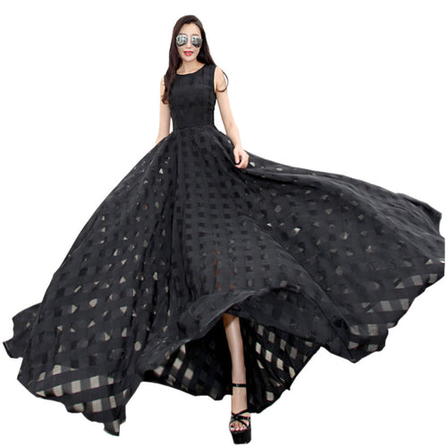 2017 New Women Summer Dress Elegant Ladies Vintage Black Organza Sleeveless