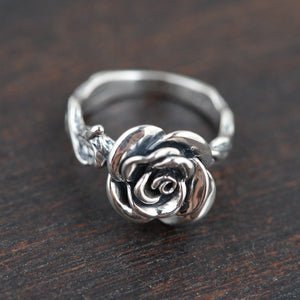 Sterling Silver Rings Vintage Rose Flower New Fashion 100% S925 Solid Silver Ring for Women