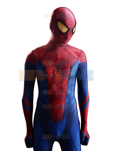 2015 New Amazing Spiderman Costume 3D Shade Pattern Spider-Man Superhero Costume Spandex Red And Blue Spiderman Costume