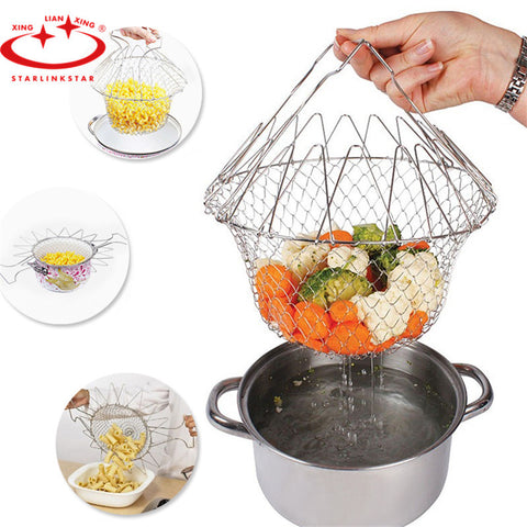 1Pcs  Foldable Fry Basket Steam Rinse Strain magic basket mesh basket Strainer
