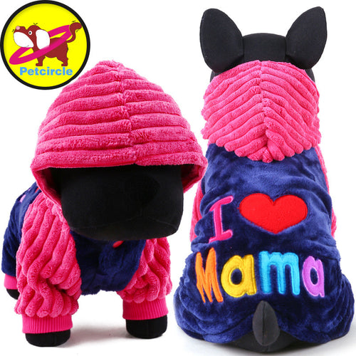 I love papa and mama winter Pet Dog Clothes Clothing !FREE SHIPPING