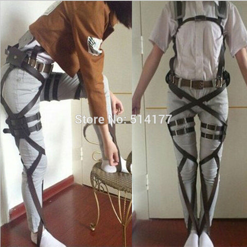 2017 New Attack On Titan Cosplay Shingeki No Kyojin Cosplay Recon Corps Harness Belts Hookshot Cosplay Costume belt suit