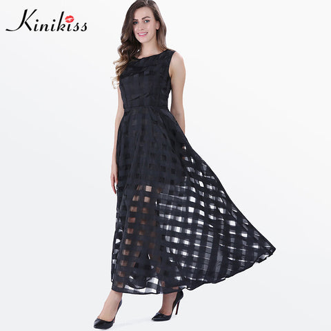 Kinikiss 2017 maxi dress plaid women solid organza summer dress