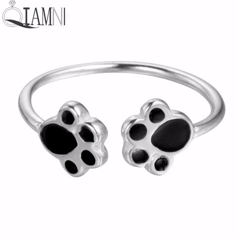 QIAMNI 925 Sterling Silver Lovely Double Puppy Dog Paw Open Ring for Women Girls