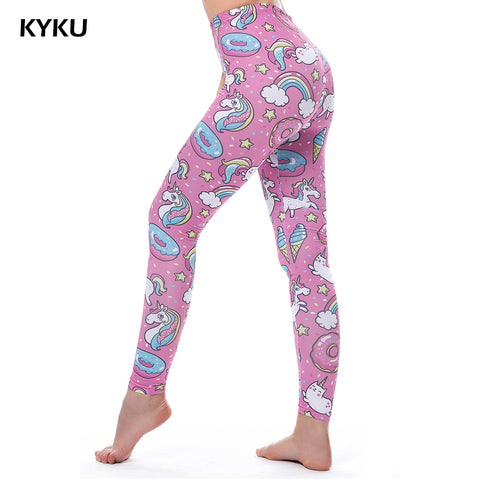 KYKU Brand Unicorn Women Fitness LeggingS  Shiny 3d Printed Rainbow Star Cat Donuts