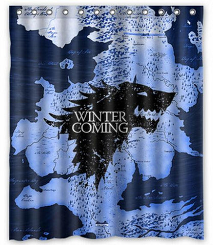 "Custom Home Decor Game Of Thrones Winter Is Coming Fabric Moden Shower Curtain bathroom Waterproof 66""x72"" Free Shipping"