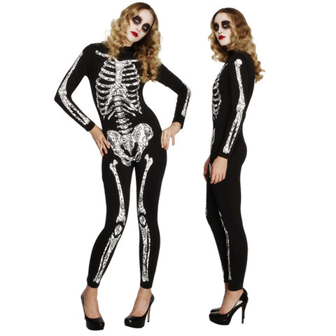 New Halloween Adult Woman Costume Creative Skull Skeleton Jumpsuit Masquerade Party Sexy Skull Black Bodysuit