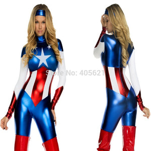 Captain America Super Heroes Bodysuits Female  (FREE SHIPPING)