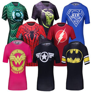 Ladies DC Comics Marvel  Fitness joger T Shirt Girls Bodybuilding Compression Tights Tee Tops (FREE SHIPPING!)