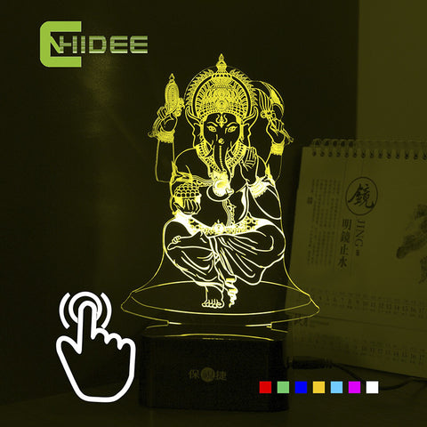 7 Colors USB 3d Nightlight for India Lord Ganesha LED RGB Touch Table Lamp