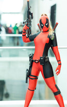 Load image into Gallery viewer, Lady Deadpool Costume Black and Red Spandex Bodysuit with Ponytail Hole (FREE SHIPPING)