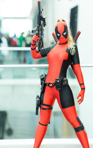 Lady Deadpool Costume Black and Red Spandex Bodysuit with Ponytail Hole (FREE SHIPPING)