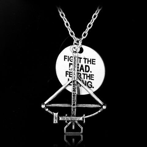 The Walking Dead Necklace Crossbow Pendant Neck lace FIGHT THE DEAD FEAR THE LIVING