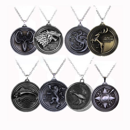 New style Game of Thrones necklace Family crest House Lannister 3D pendant necklace Hot Movie jewelry Statement necklace