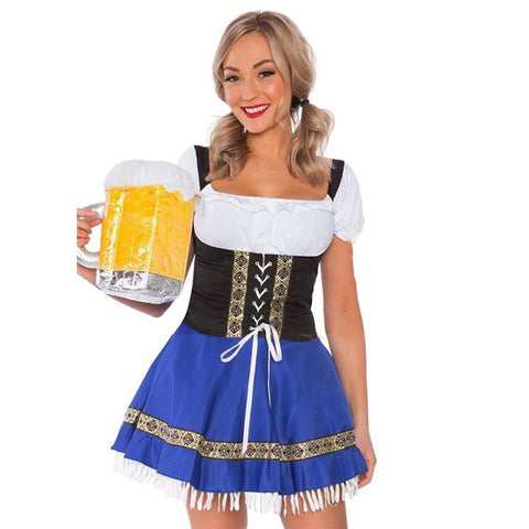 Adult Ladies Oktoberfest Costumes Germany Beer Maid Cosplay Fancy Dresses Women's Sexy Halloween Party Outfit Plus Size S-XL