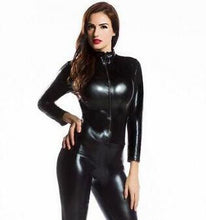 Load image into Gallery viewer, Black Shiny Latex Full Body Zentai Suit Lycra Spandex (FREE SHIPPING!!)