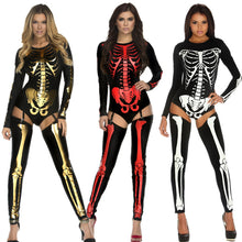 Load image into Gallery viewer, Skeleton Bodysuit Costume Women Nightclub Party Cosplay Clothes