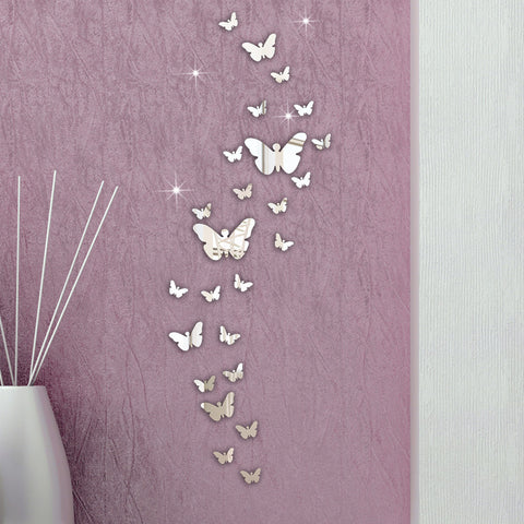 30PCS Butterfly Combination 3D Mirror Wall Stickers