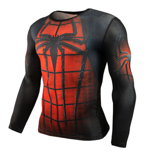 Men Crossfit Long Sleeve Compression Shirt Marvel 3D Superhero