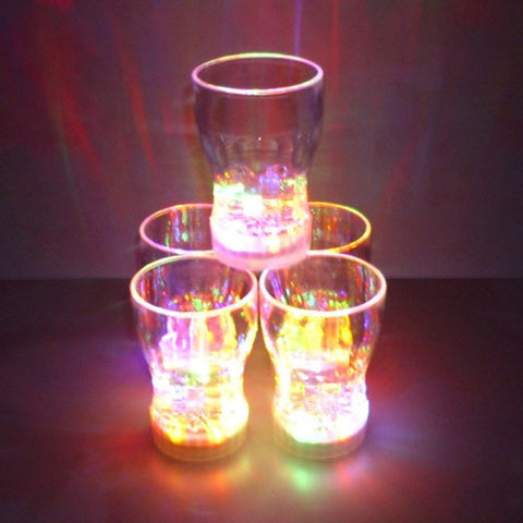 New LED Flashing Glowing Cola Water Cup Color Change w/ Switch Control Amazing Hot Selling