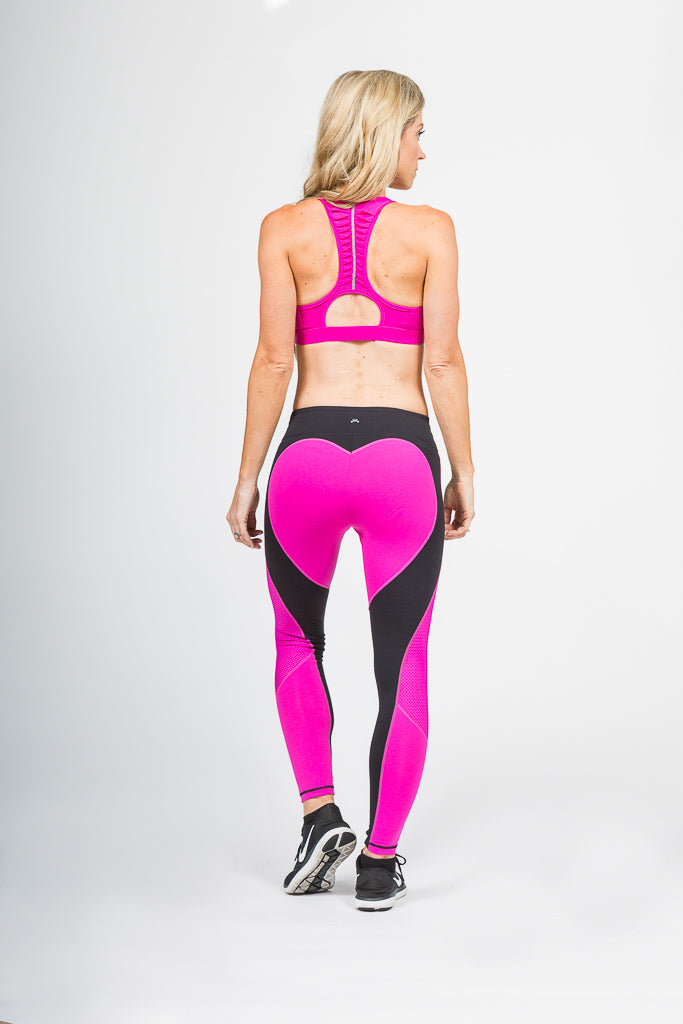 Hot Pink Heart Booty Leggings