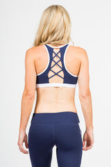Ships Ahoy White & Blue Contrast  Sports Bra